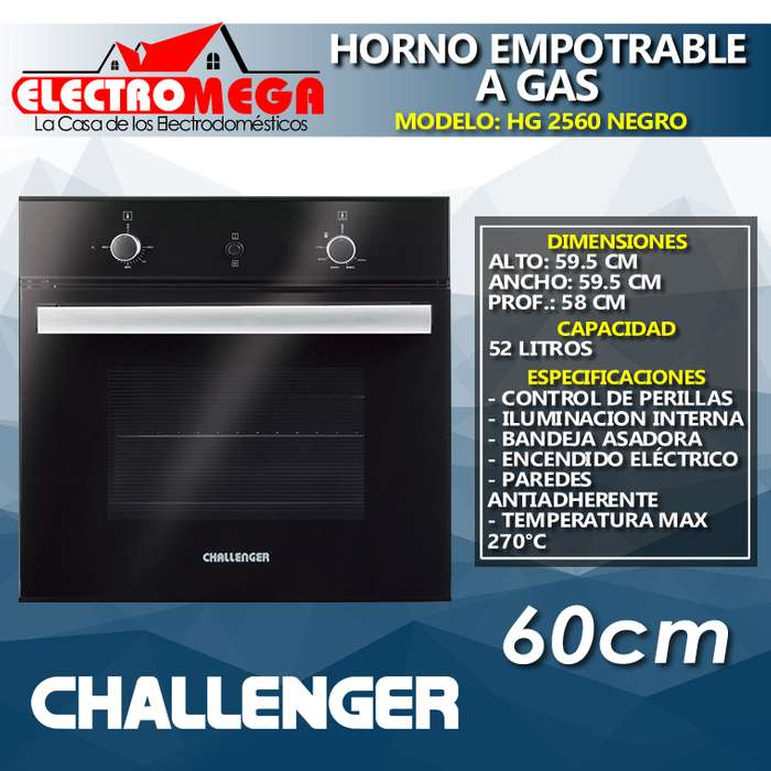 Horno Empotrable Challenger A Gas 60 Cm Vidrio Negro Hg 2560