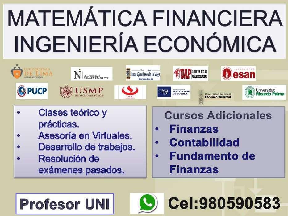 CLASES DE MATEMÁTICA FINANCIERA, INGENIERÍA ECONÓMICA, FINANZAS ,DESARROLLO DE TRABAJOS, VIRTUALES.