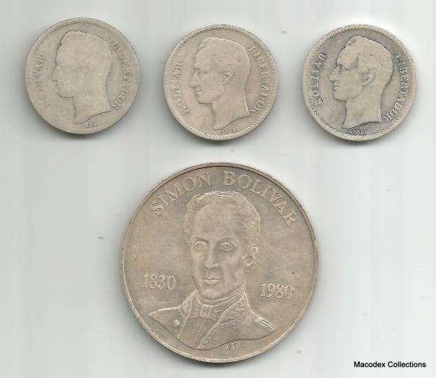 Venezuela Lote de Monedas 1 Bolivar 1924 /29 /36 / 100 Bolivares 1980
