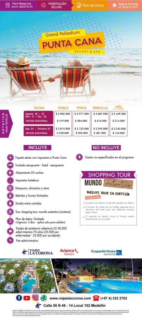 Viaje como un Rey a  Punta Cana  HOTEL GRAND PALLADIUM con Viajes la Corona