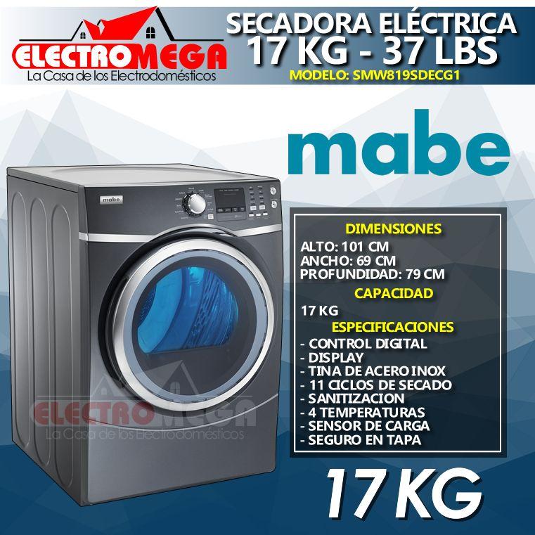Secadora Eléctrica Mabe 17kg / 37lb Carga Frontal Color Gris