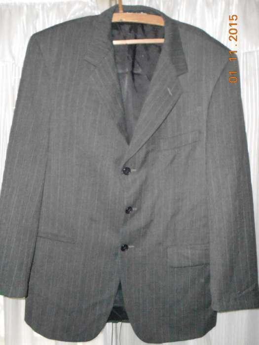 <strong>traje</strong> De Hombre Gris Oscuro Rayitas Marca Johnson Talle 50