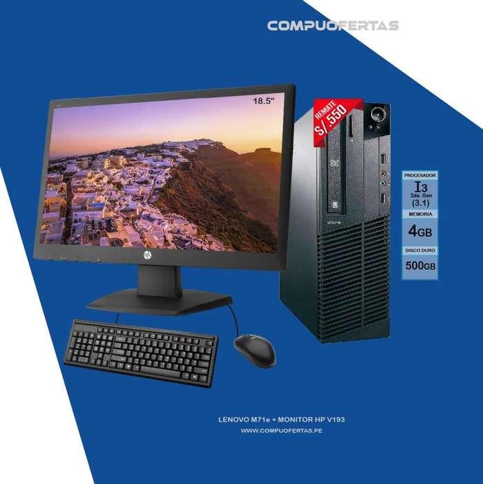 Computadora Lenovo M71e Core i3 Con Monitor 18.5