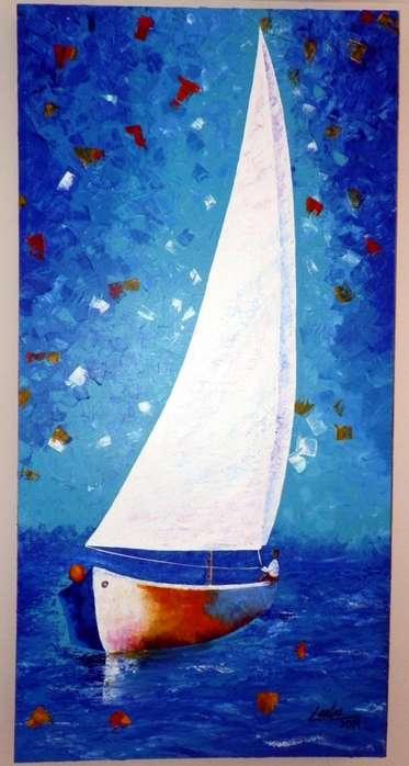 Pintura de velero en acrilico profesional, en formato vertical