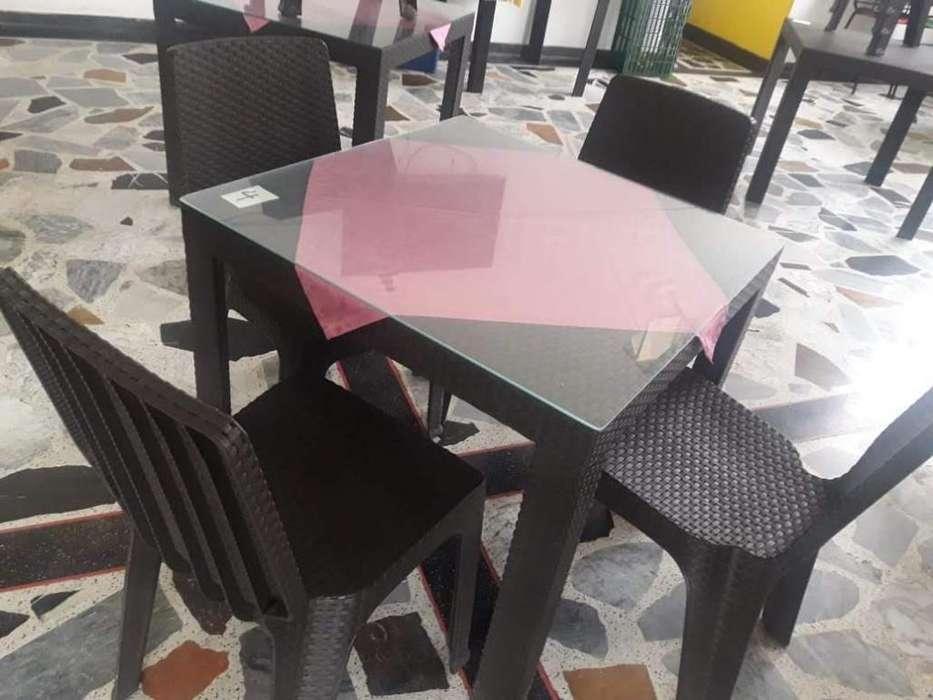 MESA Y CUATRO <strong>silla</strong>S COLOR CAFE