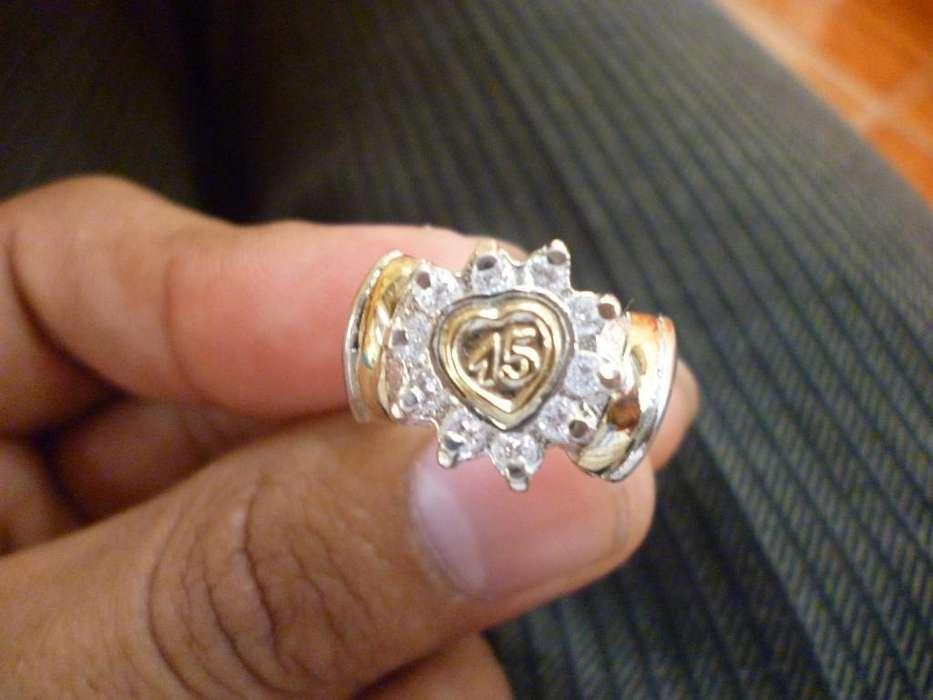 Anillo D 15 Años D Plata con Oro Nuevo