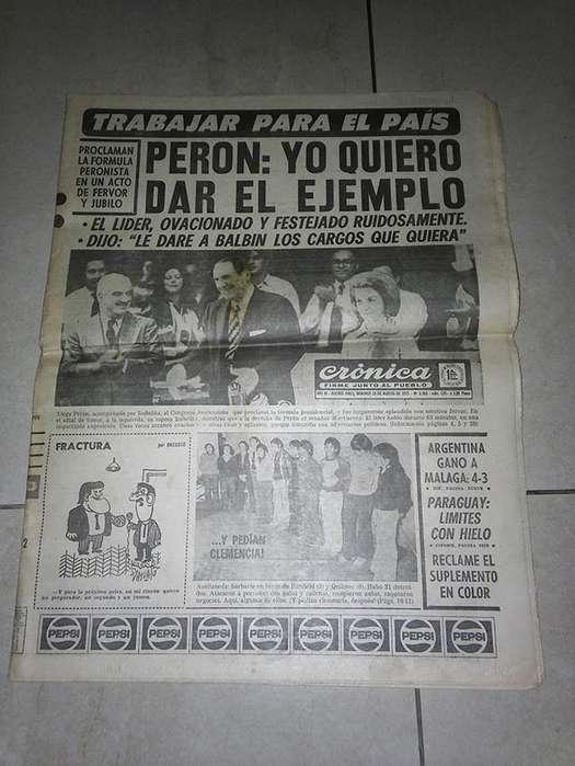 Antiguo diario Crónica, Perón candidato. a presidente.