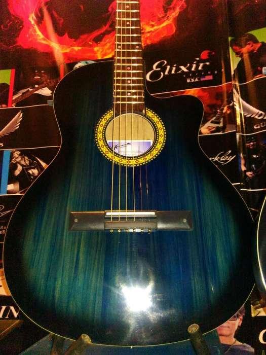 guitarra electroacustica media caja con funda y pua!!! envios