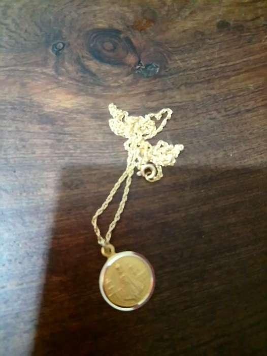 Cadena de Oro Y Medalla Virgen 18 K