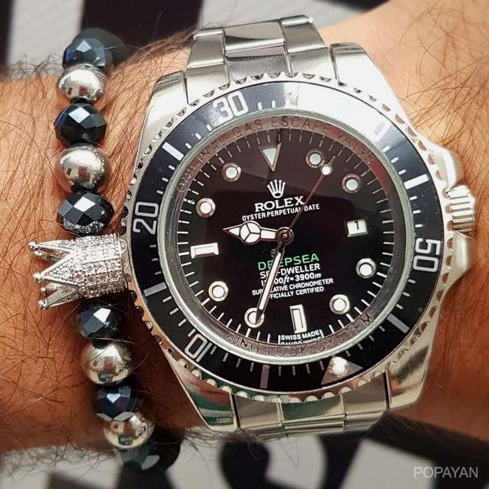 az) Rolex plateado fondo negro deepsea 90 mujeres