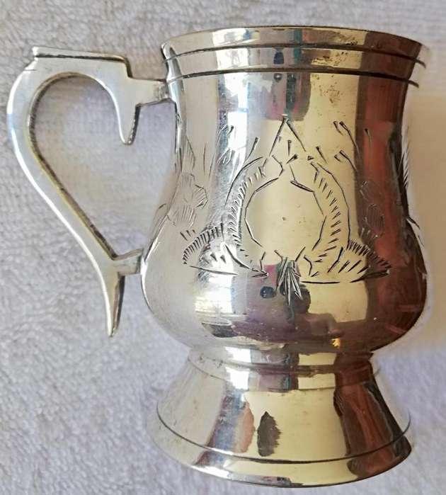 Taza de alpaca bañada en plata