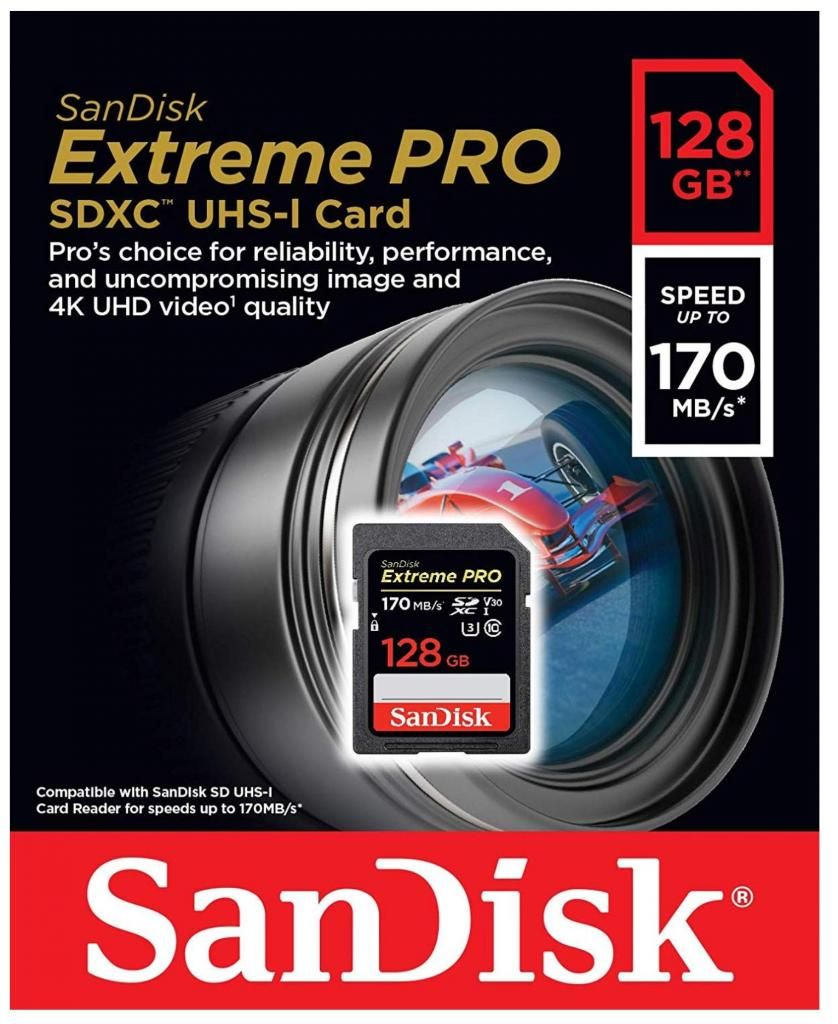 SanDisk 128GB Extreme Pro SDXC UHS-I Card - C10, U3, V30, 4K UHD, SD Card