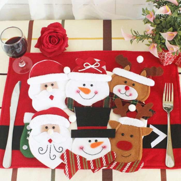 Estuche Cubiertos Decoración Mesa Navidad Accesorios * 6 Un