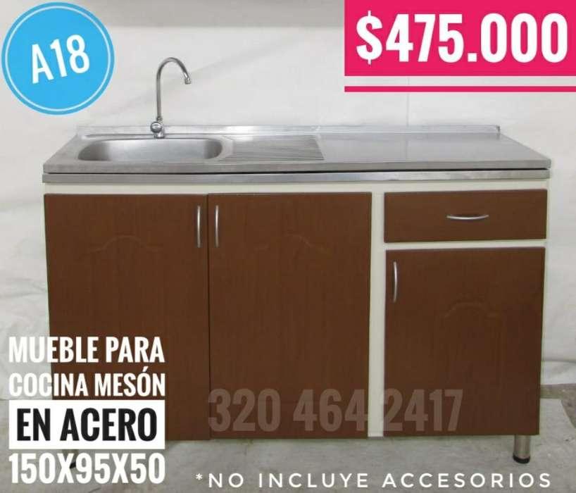 Mueble para Cocina Meson Acero 150x95x50