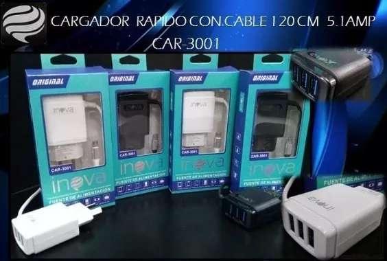Cargador INOVA Car-3001 Super Rápido 5.1 amp 3 Salidas USB