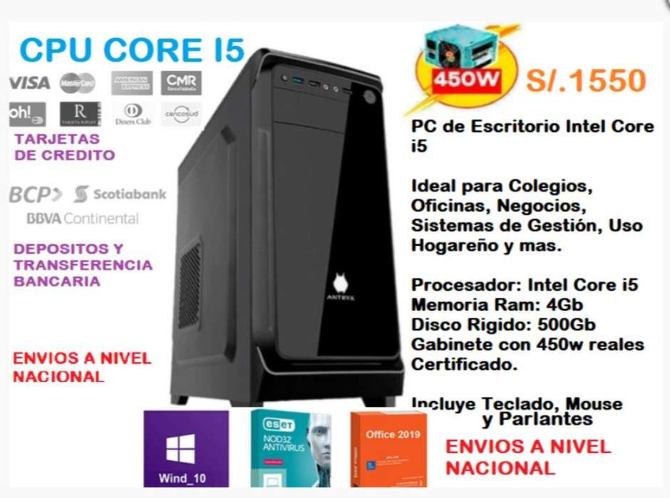 Pc Cpu Core I5 4gb 500gb Nuevo Antivirus