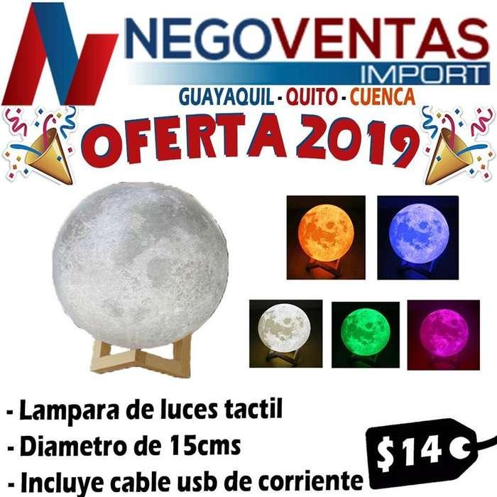 LAMPARA LUNA EN 3D , TOUCH CAMBIA DE COLORES DE OFERTA