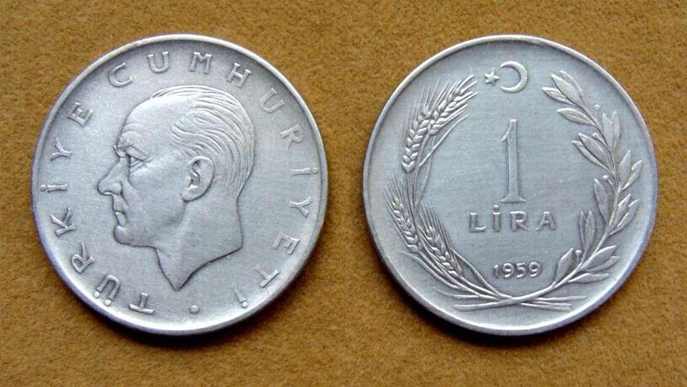 Moneda de 1 lira Turquía 1959