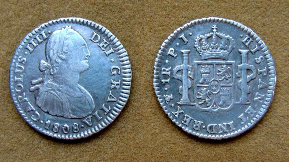 Moneda de 1 real Virreinato del Río de la Plata 1808