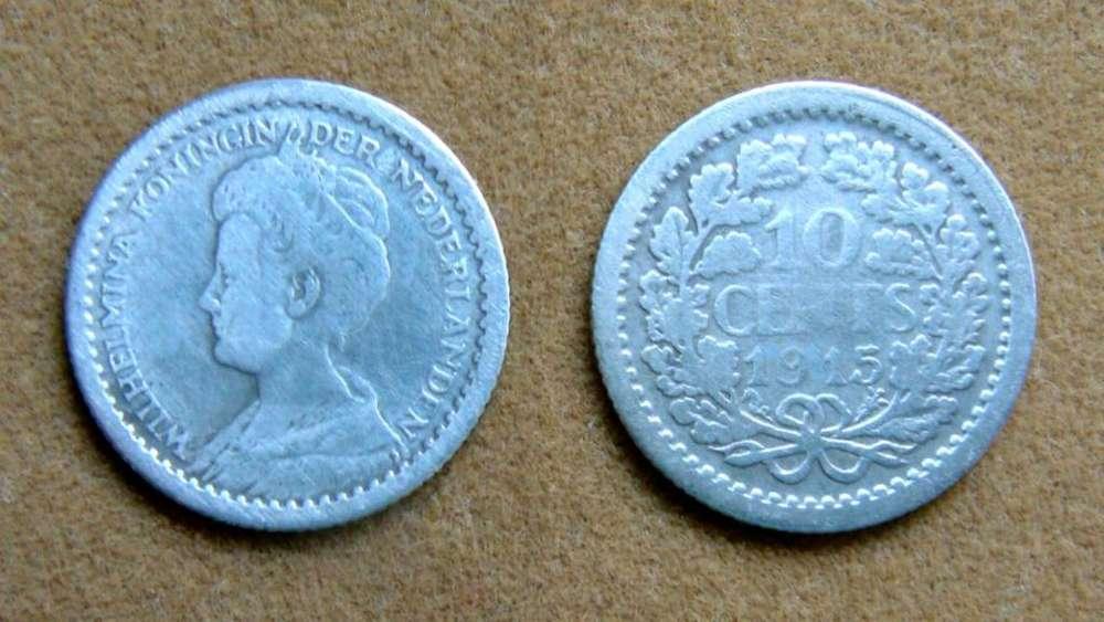 Moneda de 10 cent de plata Holanda 1915