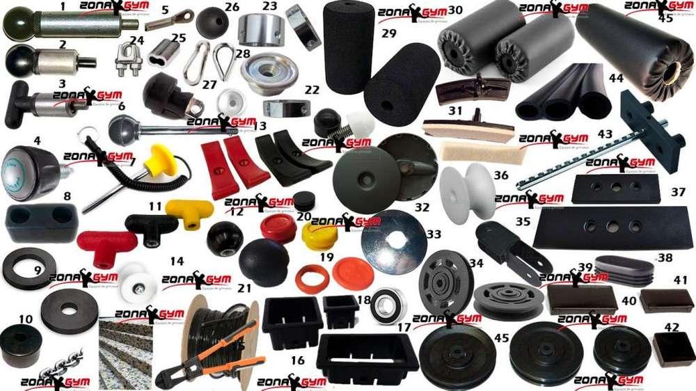 <strong>accesorios</strong> gimnasio,rodillos , cable, poleas, pines, tapones,placas, esponja prensada, deslizantes,pesas,