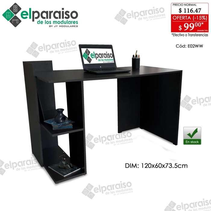 Mesas escritorios modular con librero minimalista. color wengue y combinados