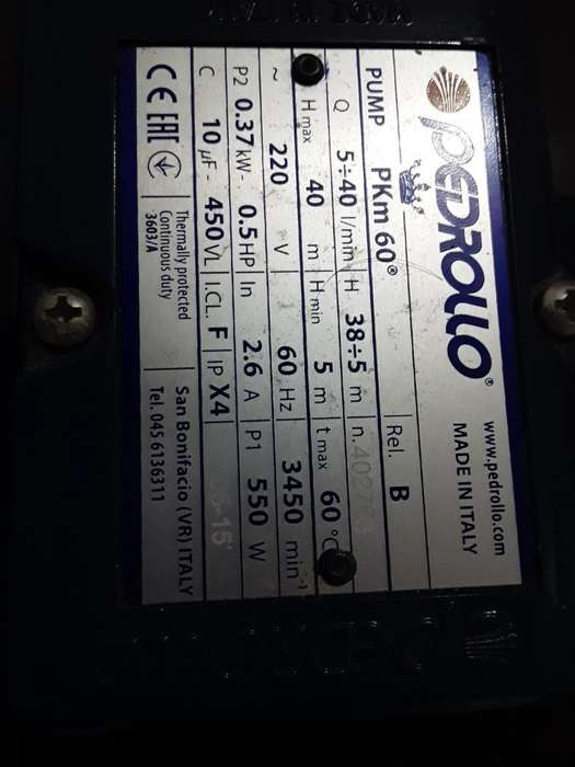 Motor Electrico Pedrollo 0.5 Hp