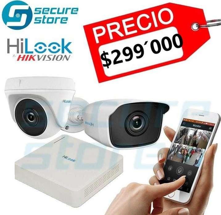 EXCELENTE PRECIO !!!! COMBO CCTV HILOOK , DVR 4 CANALES. 2 CAMARAS DOMO O BALA DE 720 P