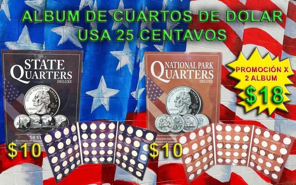 Dos album coleccionadores para monedas de 25 centavos de dolar usa
