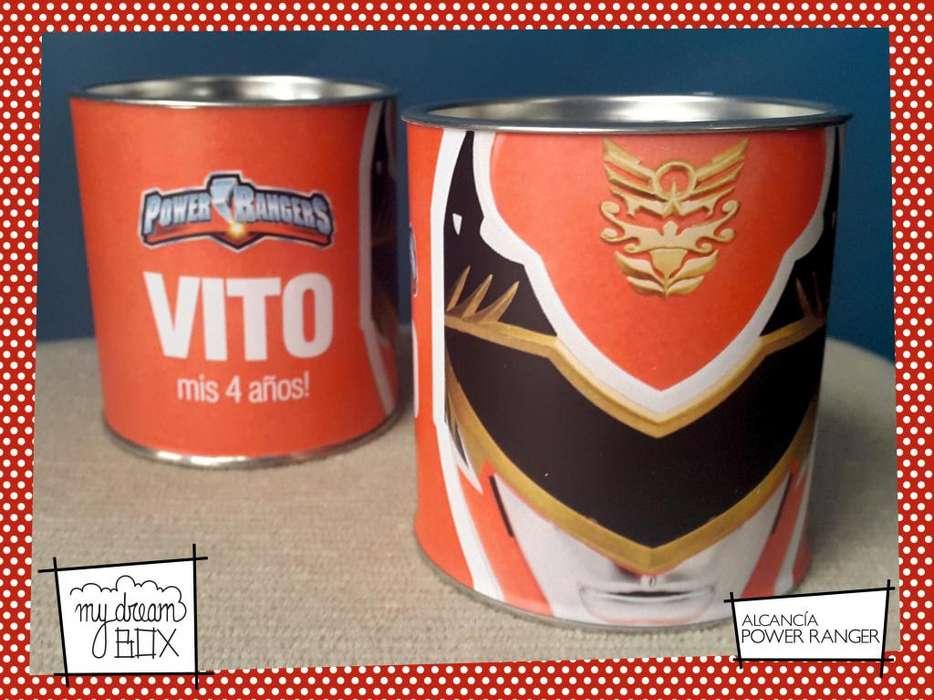 Alcancia Lata Power Ranger Rojo Souvenir Infantil Personalizado Evento Cumpleaños Fiesta