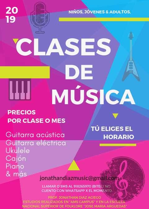 Clases de Música (guitarra, ukulele, piano, cajón & más)