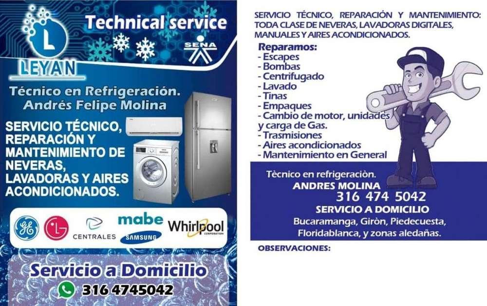 Técnico neveras, lavadoras y aires acondicionados de todas las marcas