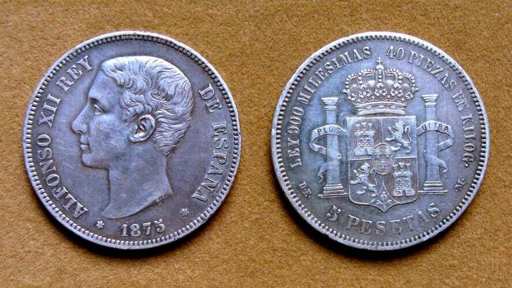 Moneda de 5 pesetas de plata, España 1875