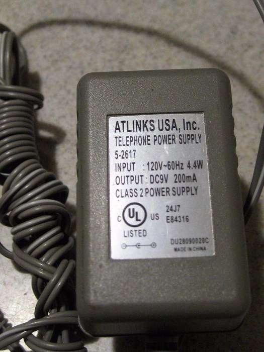 Atlinks AC Adaptador 52527 9V 200mA Punta AW35 AL29