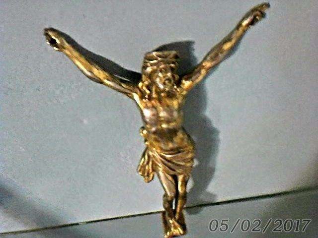 Cristo De Bronce Baño Dorado