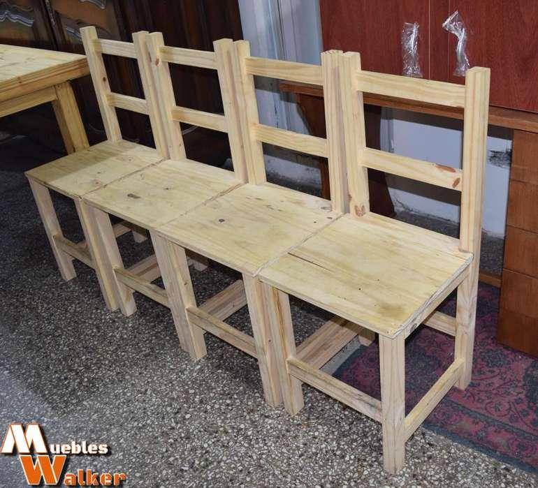 4 <strong>sillas</strong> de pino 399 c/u.