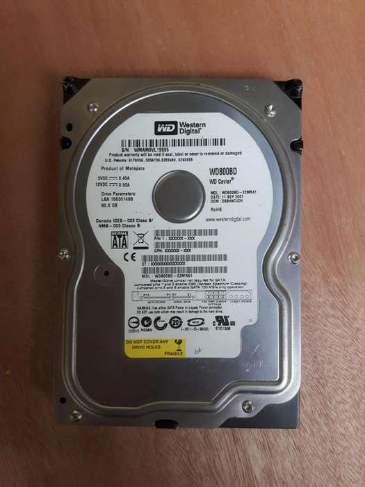 disco duro sata 80 GB marca WD para computador o consola
