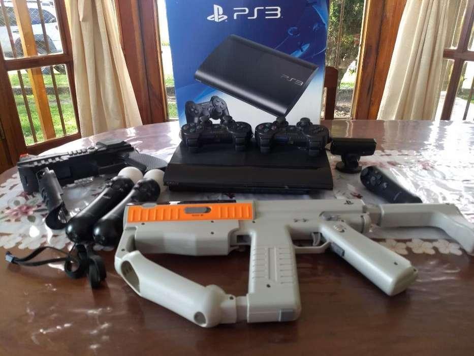 Ps3 con Move Camars,pistolas Y 6 Juegos
