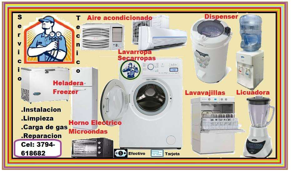 REPRACAION de lavarropa secarropa,horno electrico,microondas,heladera,aire acondicionado, cava, dispenser,etc..