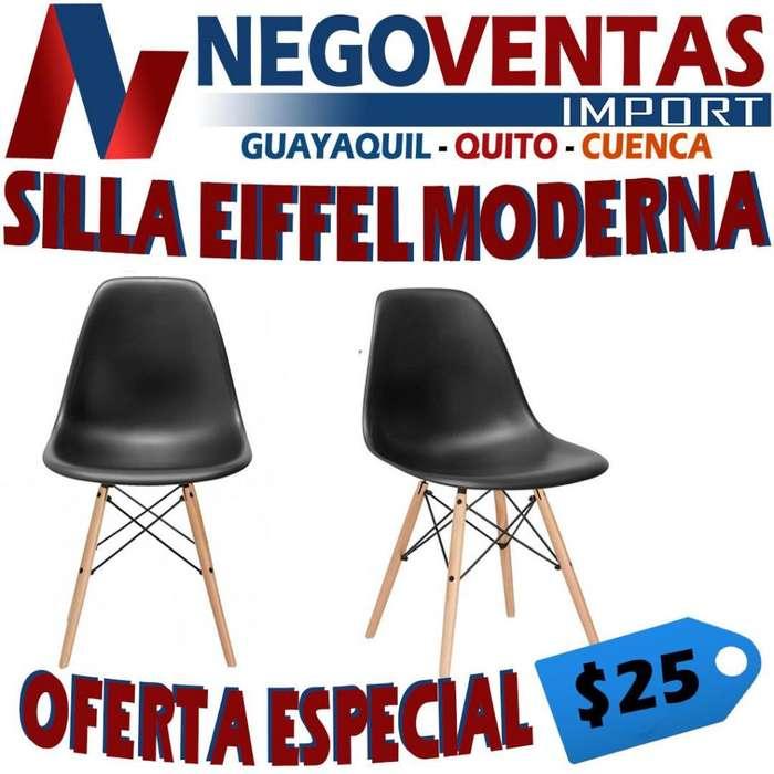 <strong>silla</strong> EIFFEL MODERNA EN COLOR NEGRA Y BLANCO IDEAL PARA NEGOCIOS O HOGAR