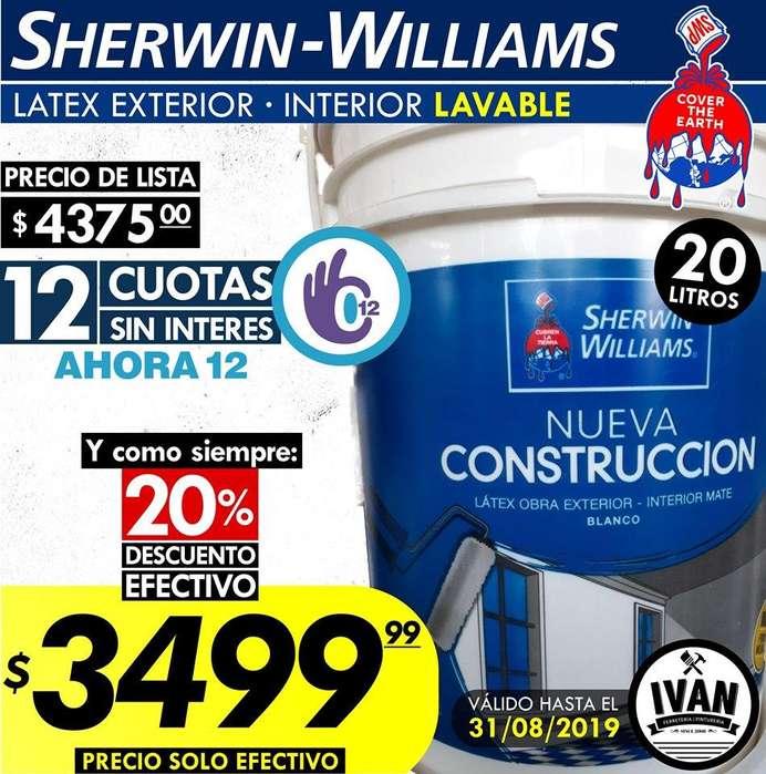 LATEX SHERWIN WILLIAMS - Interior Exterior - Lavable - Linea NUEVA CONTRUCCION - El mejor precio de Mar del Plata