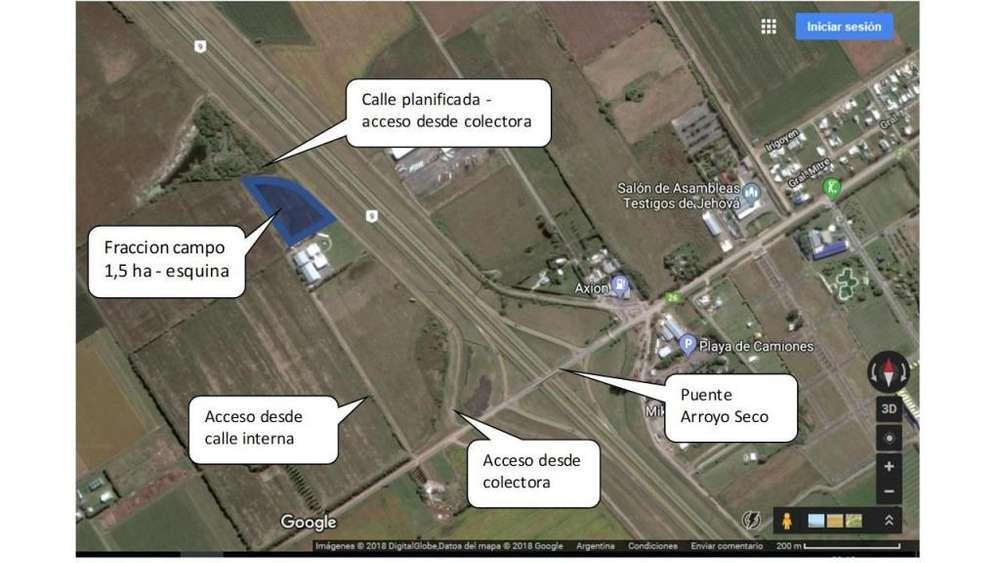Venta terreno de 1,5 ha en área de zonificación industrial a 500 mtrs. del puente de acceso a Arroyo Seco