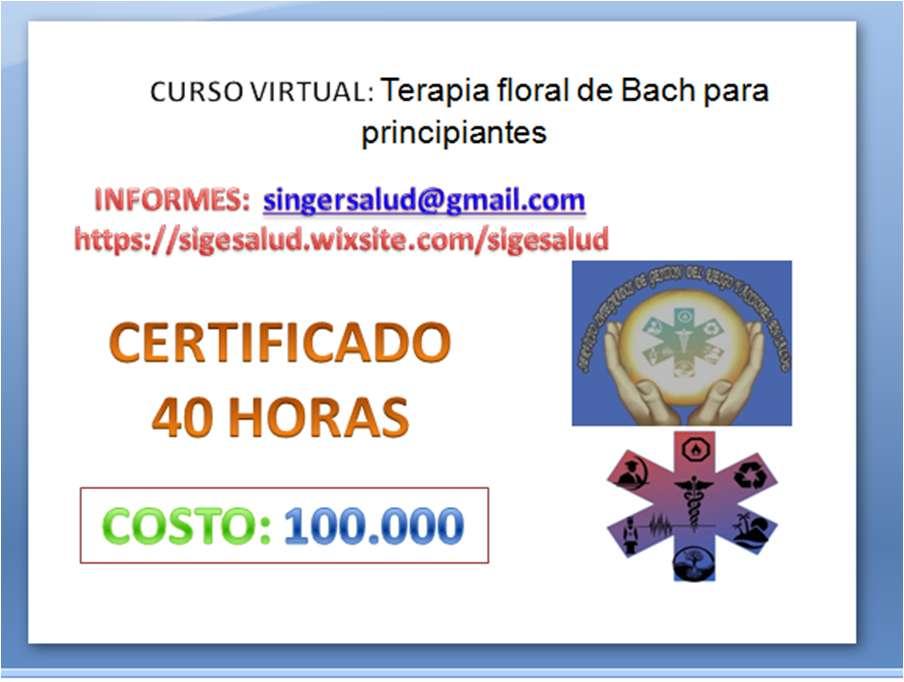 100.000 CURSO VIRTUAL: Terapia floral de Bach para principiantes
