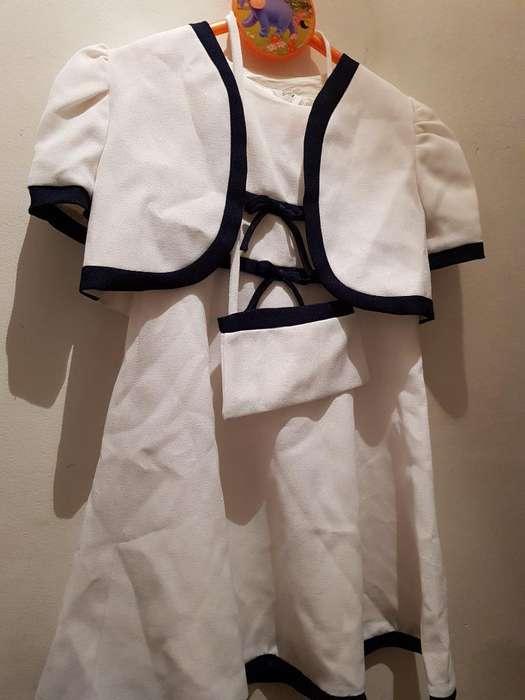 Vestido 3 Piezas Importado Y Saco Tejido