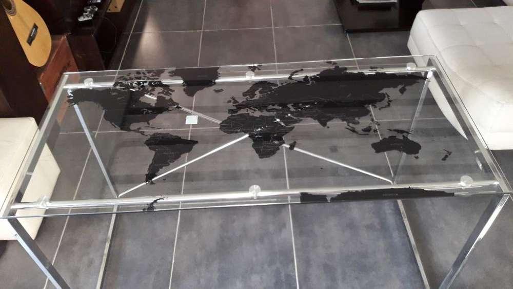 <strong>escritorio</strong> de Vidrio con Mapa Mundi