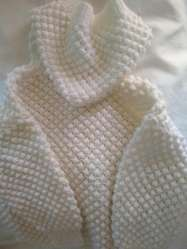 saco capucha tejido manual lana blanca talle 3 hermoso