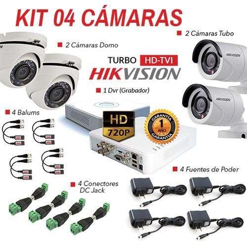 04 CÁMARAS DE SEGURIDAD HIKVISION HD 720p