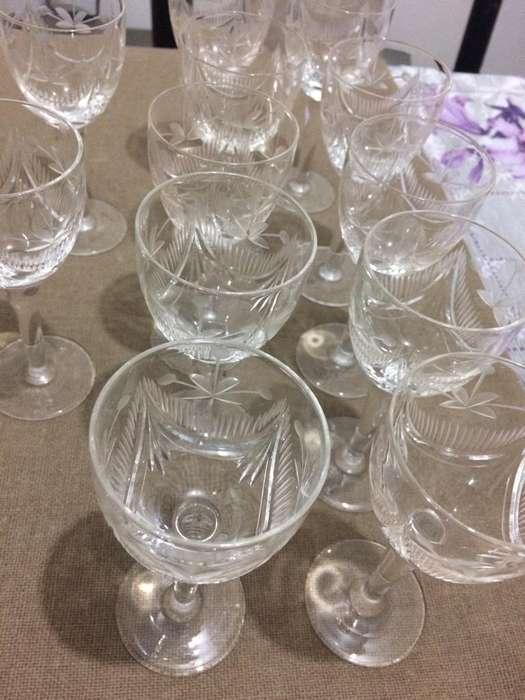 Vendi Copas Antiguas Talladas de Cristal