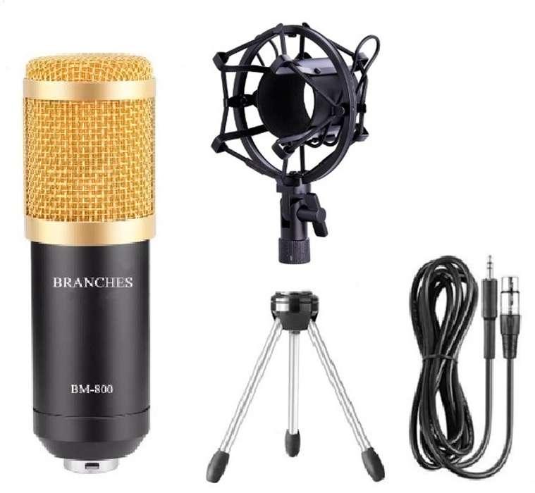 Micrófono BM800 Condensador Profesional Karaoke Pc Laptop Tutorial con Kit whatsap 931458980