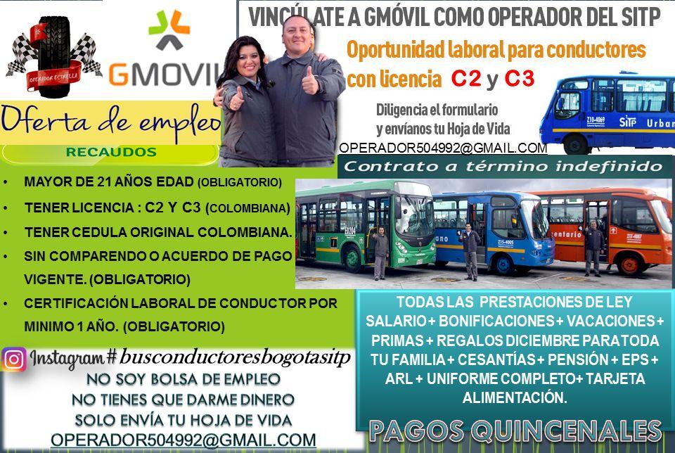 NECESITAMOS CONDUCTORES C2 Y C3